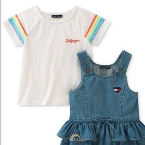 Tommy Hilfiger Cotton T-Shirt & Denim Ruffle Dress